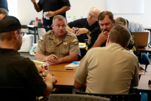 O E S Law Division Chief Paul Tassone attending a law enforcement briefing at the Tuolumne Memorial Hall in Tuolumne, California