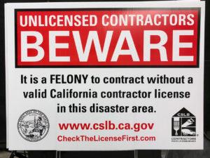 Unlicensed Contractors Beware Sign