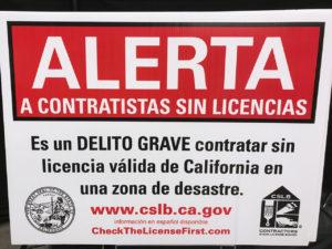 Unlicensed Contractors Beware Sign in Spanish
