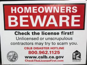 Homeowners Beware Sign