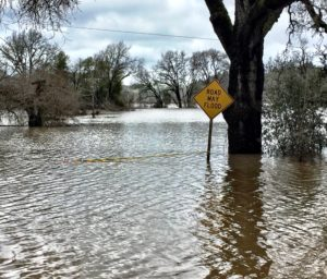 Flooded street and sign in Sonoma County on River Road