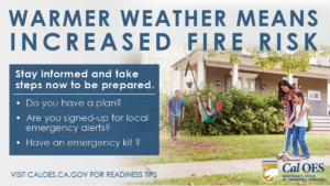 Graphic warning of increased fire weather and if families have an emergency plan, go bag, and alerts ready