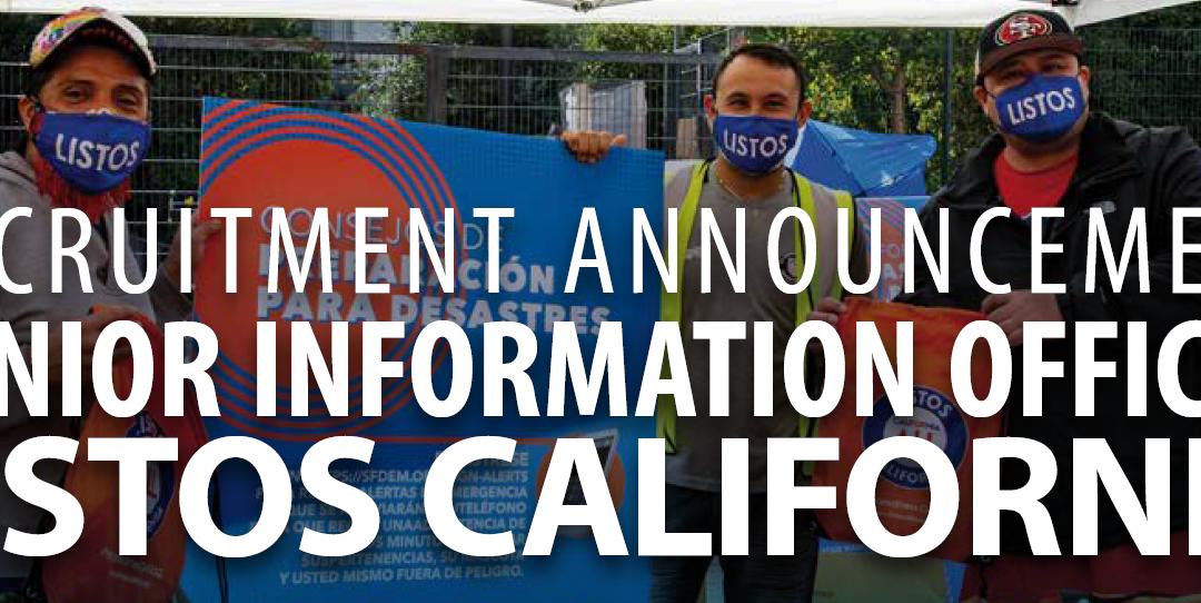 Recruitment Announcement: Senior Information Officer Listos California